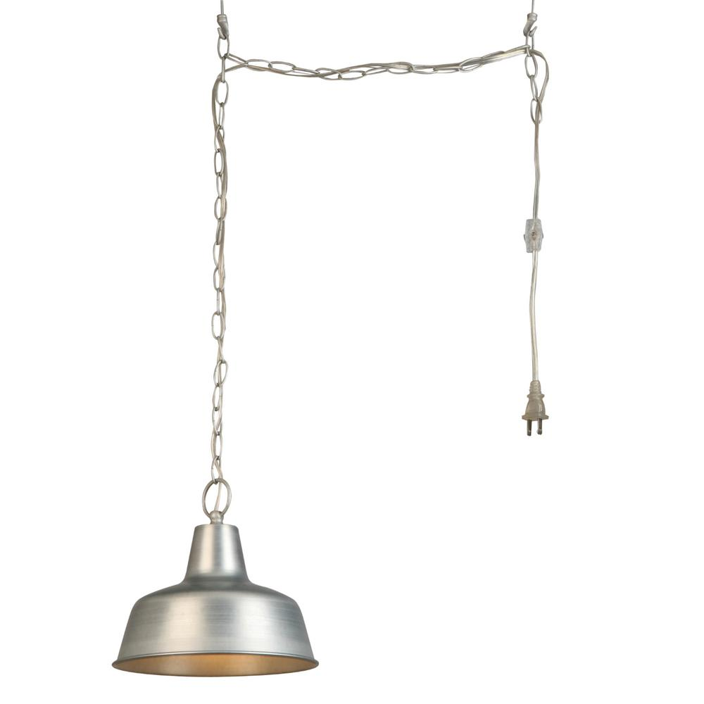 design house 1 light galvanized swag pendant light