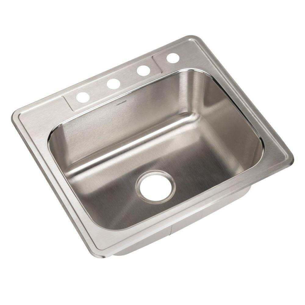 Glowtone Series Drop-In Stainless Steel 25 in. 4-Hole Single Bowl Kitchen