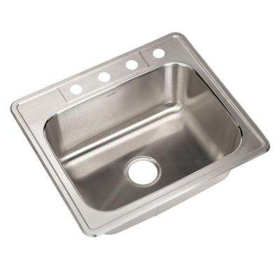 Glowtone Series Drop-In Stainless Steel 25 in. 4-Hole Single Bowl Kitchen Sink