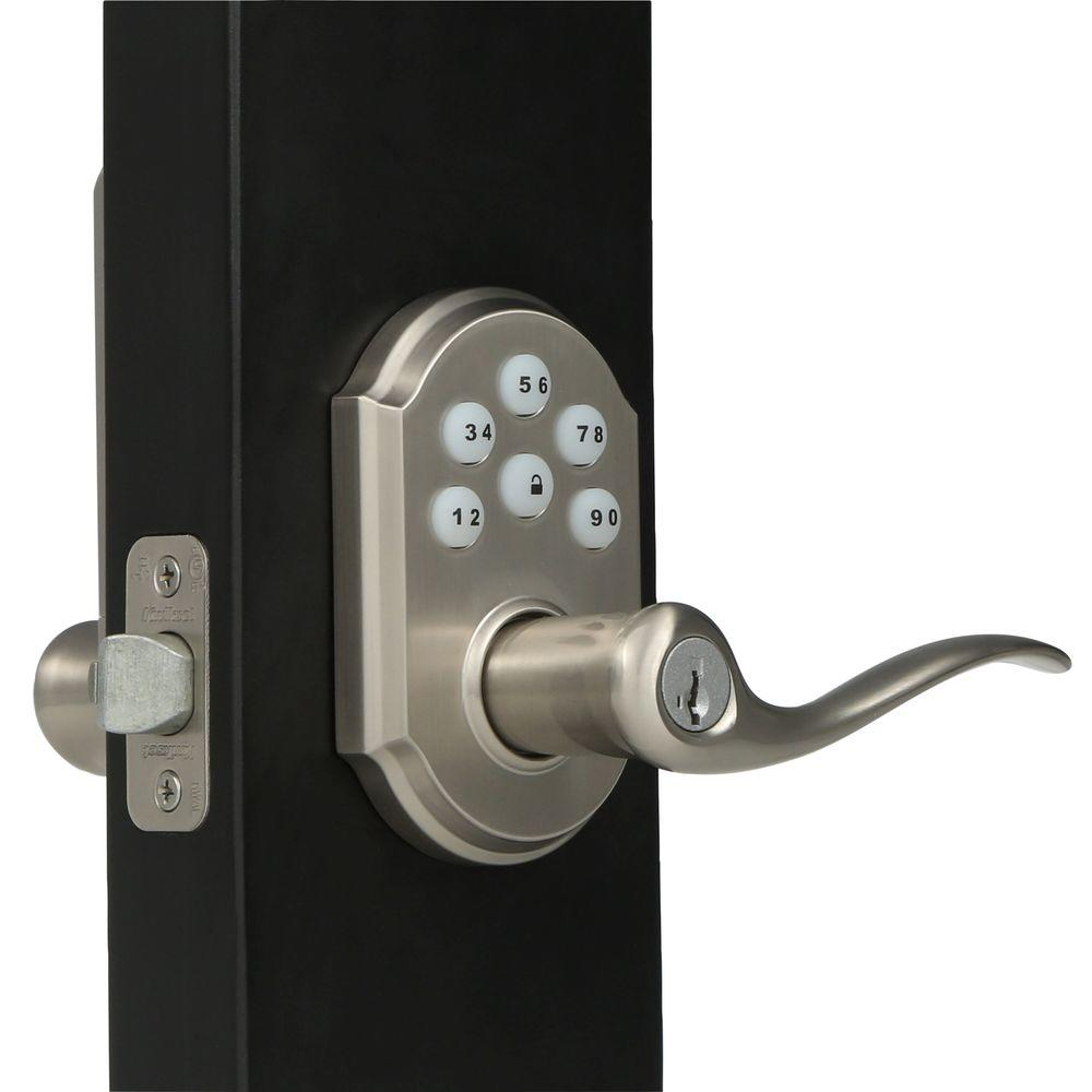 Kwikset SmartCode Satin Nickel Electronic Tustin Door Lever Featuring  SmartKey Security