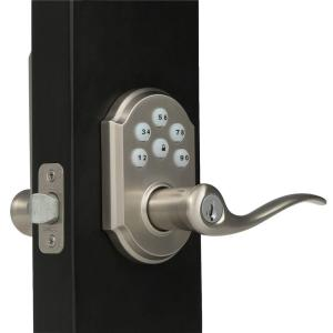 Kwikset SmartCode Satin Nickel Electronic Tustin Door Lever ...