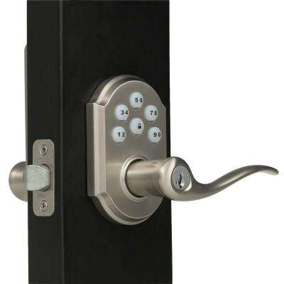 SmartCode Satin Nickel Electronic Tustin Door Lever featuring SmartKey