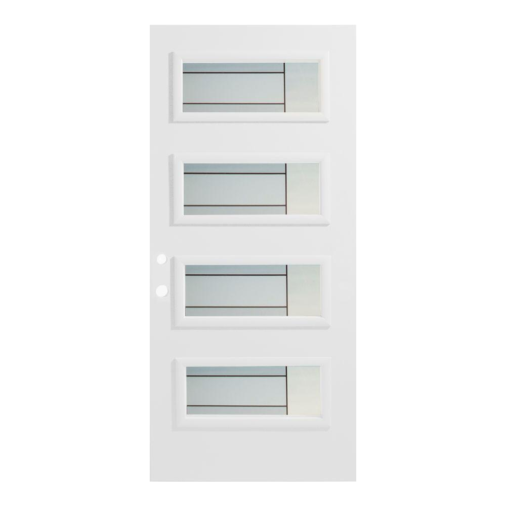 Stanley Doors 36 in. x 80 in. Louise 4 Lite Painted White Right-Hand Inswing Steel Prehung Front Door