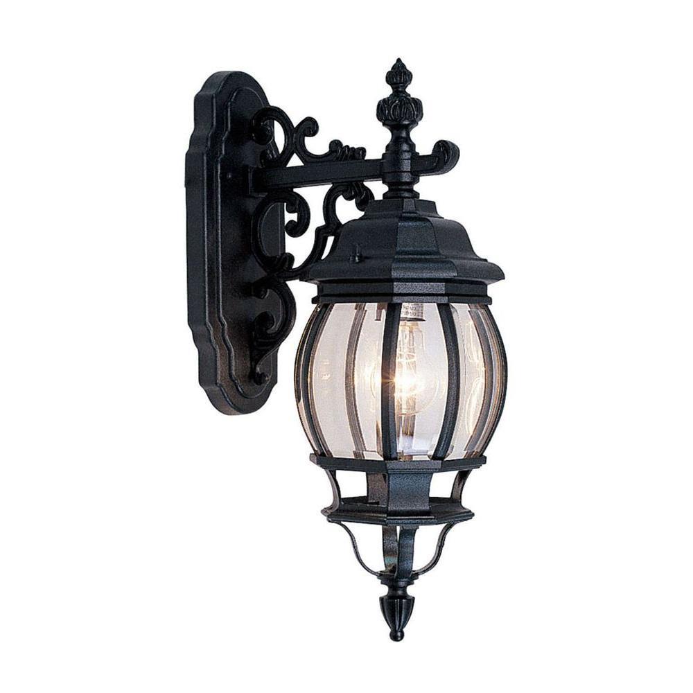 Providence Wall-Mount 1-Light Black Outdoor Incandescent Lantern