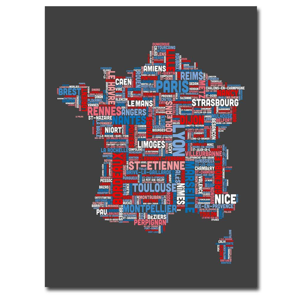 24 in. x 18 in. France City Text Map Canvas Art