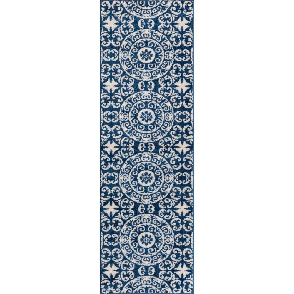 Well Woven Sydney Petra Palatial Moroccan Tile Navy Blue 2
