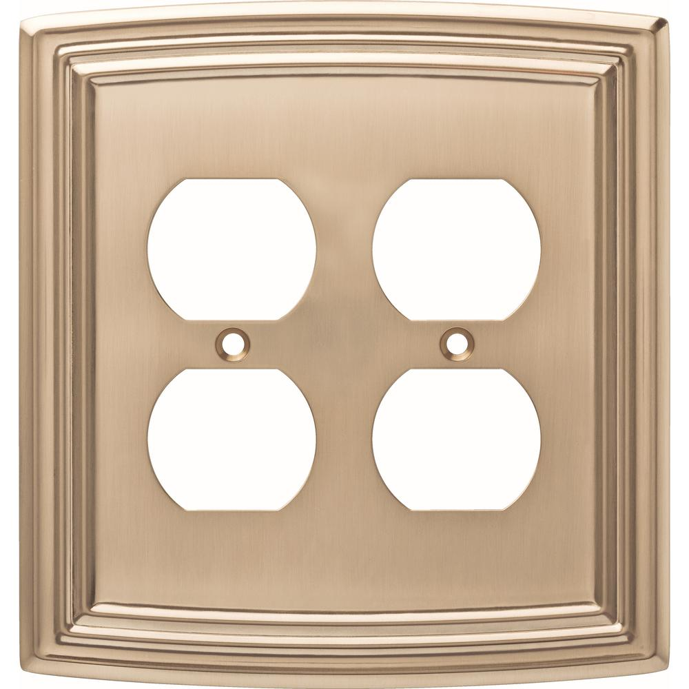 Liberty Emery Decorative Double Duplex Outlet Cover Champagne