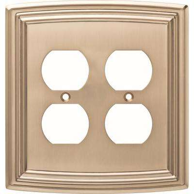 Emery Decorative Double Duplex Outlet Cover, Champagne Bronze