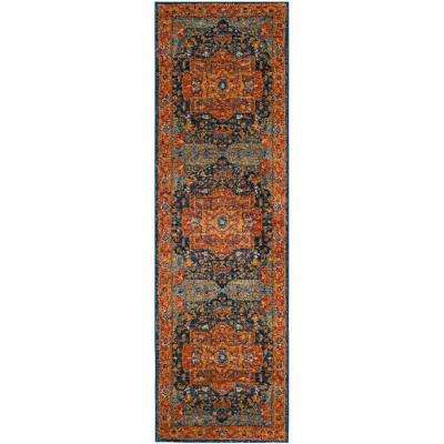 Evoke Blue/Orange 2 ft. x 17 ft. Runner Rug