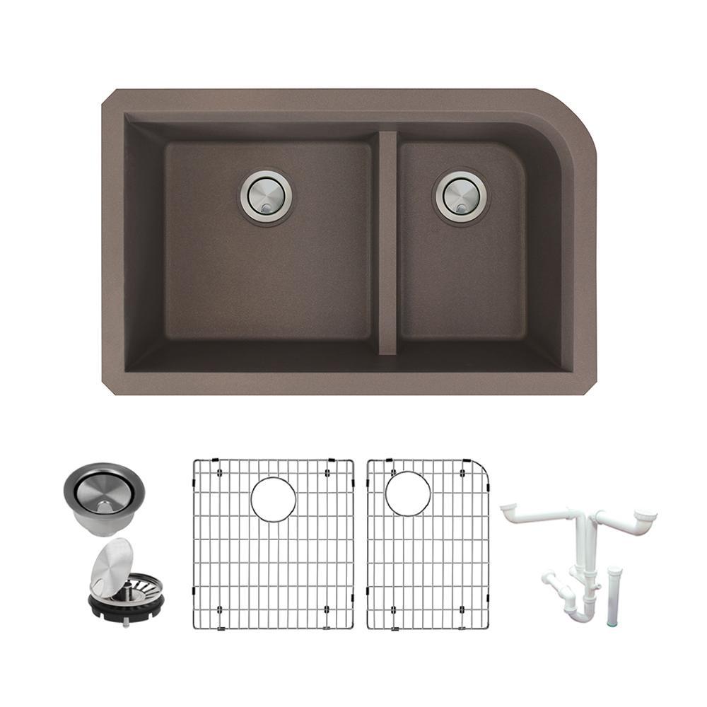 Radius All-in-One Undermount Granite 32 in. 1-3/4 in. J-Shape Double Bowl Kitchen Sink in Espresso