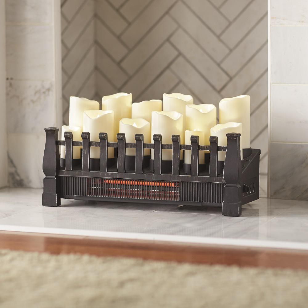 Provide warm ambiance to your living space with this Home Decorators Collection Brindle Flame Candle Electric Fireplace Insert with Infrared Heater.