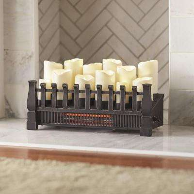Brindle Flame 20 in. Candle Electric Fireplace Insert with Infrared Heater in Black