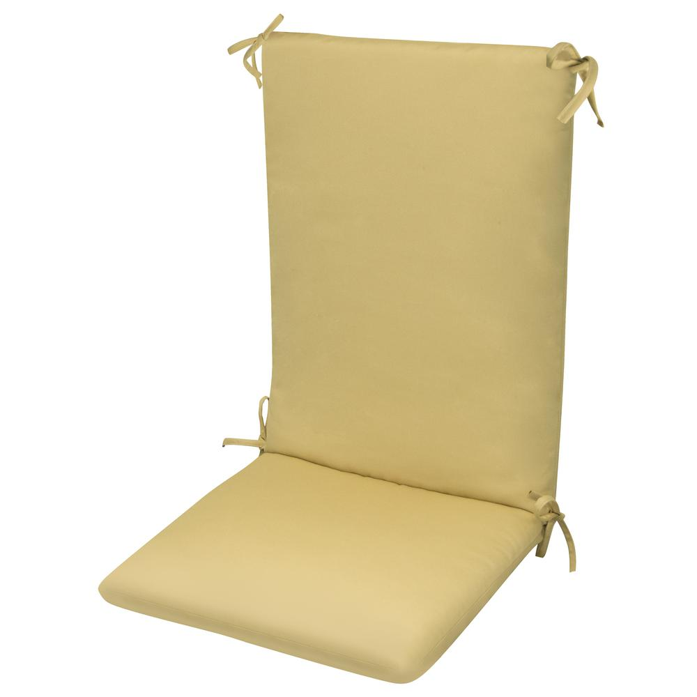 High Back Chair Cushionknife Edge Hinged Solution Dyed Polyester Fiber Fill Beige Sun Spun Fabric