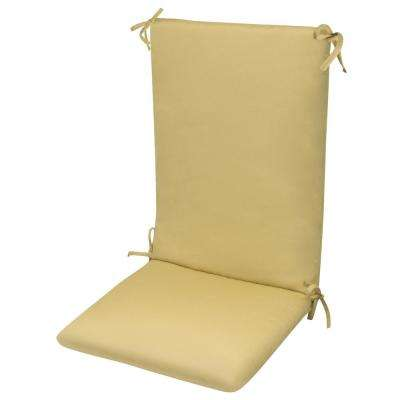 High Back Chair CushionKnife Edge Hinged Solution Dyed Polyester Polyester Fiber Fill Beige Sun Spun Fabric
