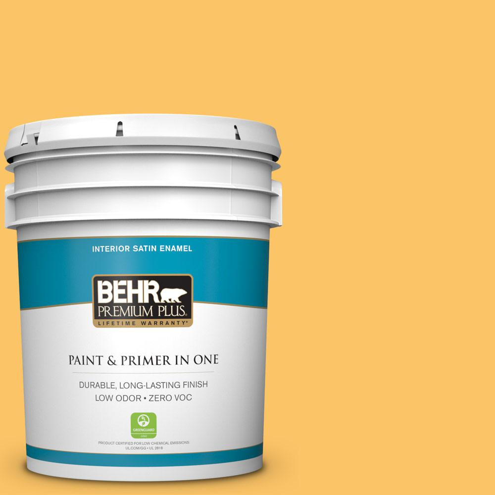 5 gal. #PPU6-06 Honey Locust Zero VOC Satin Enamel Interior Paint
