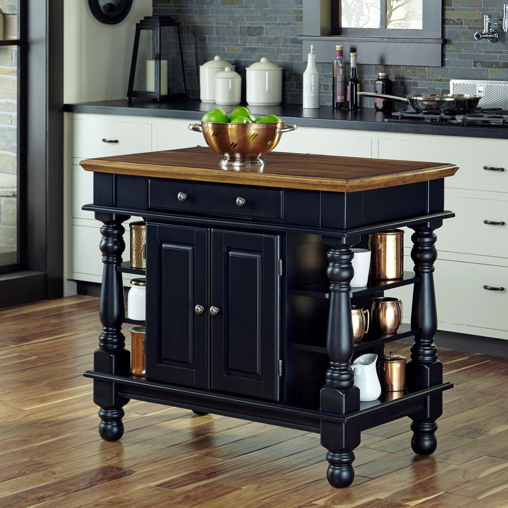 Home Styles Americana Black Kitchen Island With Storage ...