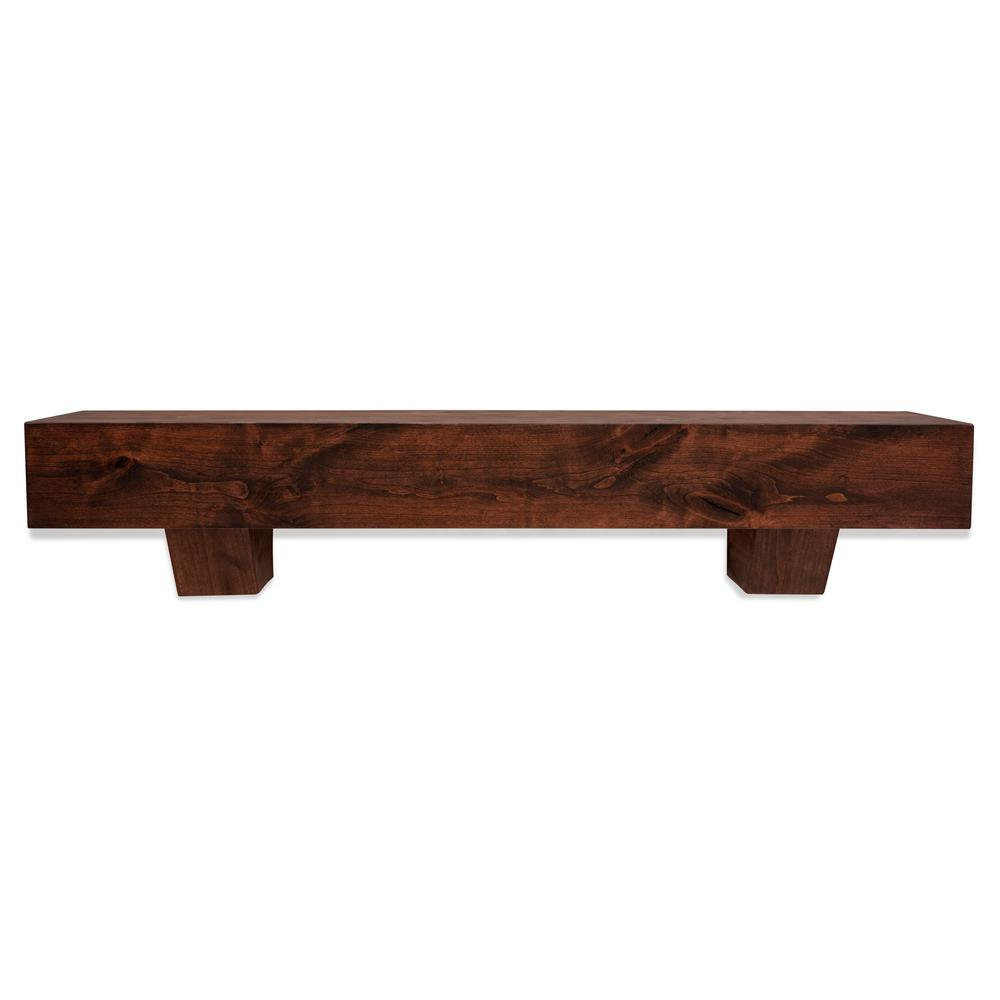 Dogberry Collections 5.5 in. x 60 in. x 9 in. Modern Farmhouse Mahogany  Mantel with Corbels