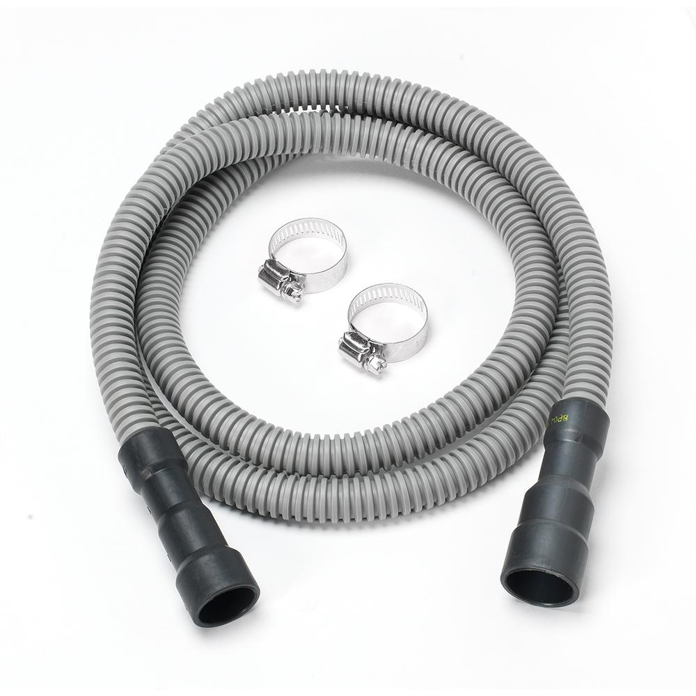 Everbilt 6 ft. Corrugated Dishwasher Hose The 6 ft. Corrugated Dishwasher Hose from Everbilt features a universal design that is compatible with most dishwashers. The corrugated texture allows flexibility in small, tight spaces. The ends will fit on most stubs. The hose comes with two clamps for a completely quick and easy installation.