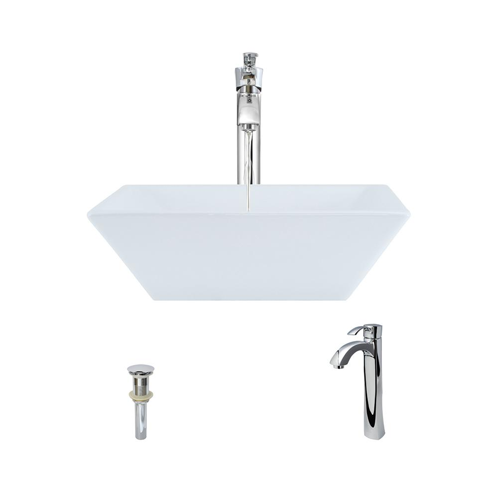 Porcelain Vessel Sink in White with 726 Faucet and Pop-Up Drain