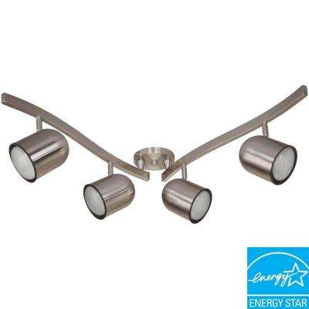 4-Light R30 15-Watt Brushed Nickel Bullet Swivel Track Lighting Kit