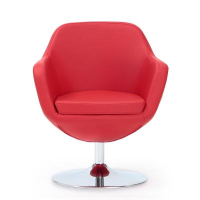 Red Caisson Leatherette Swivel Accent Chair