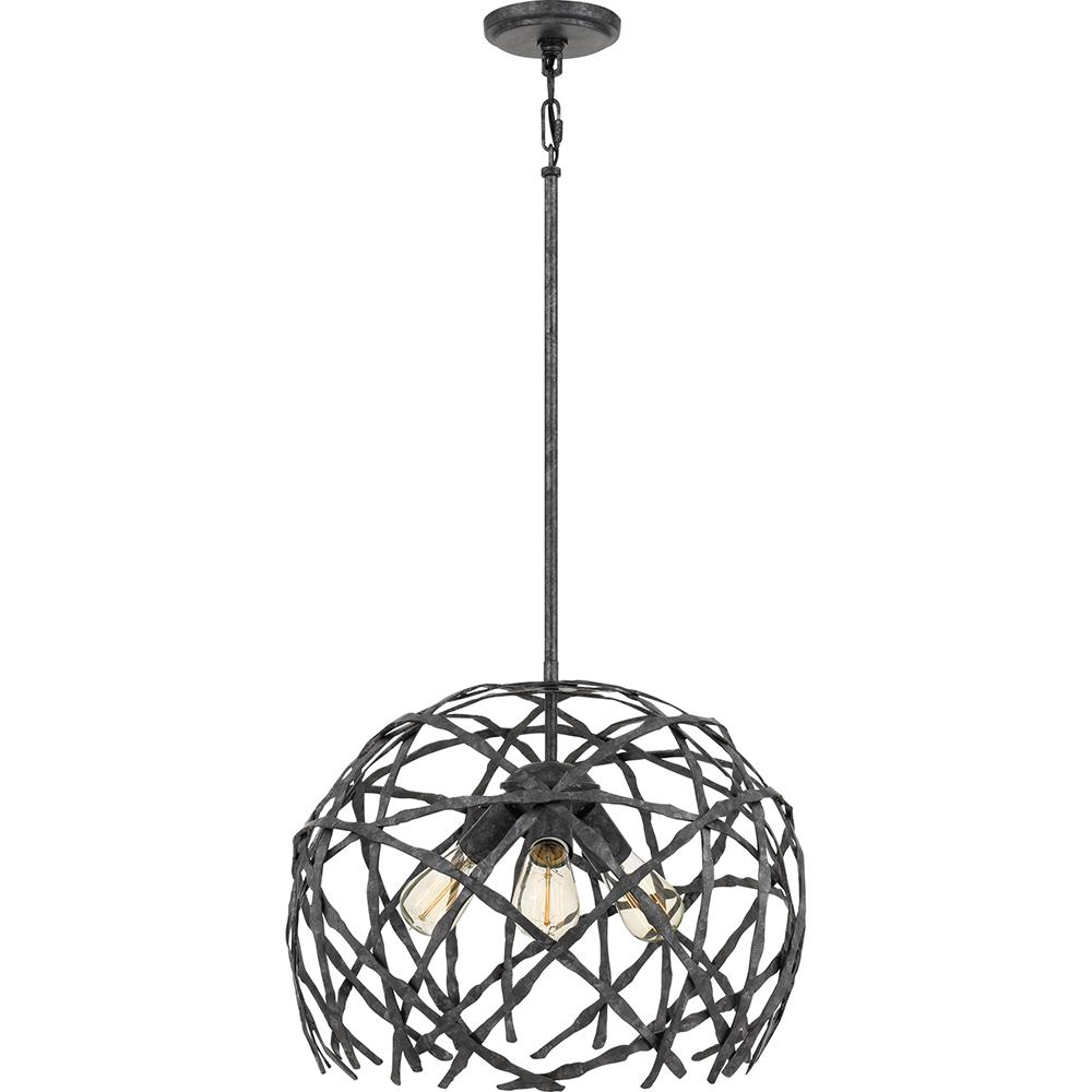 Pantheon 3-Light Old Black Finish Pendant