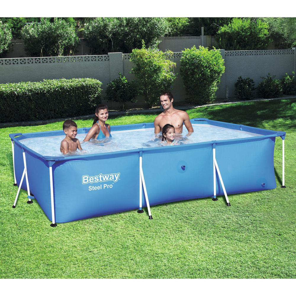 Bestway Bestway Steel Pro 102 in. x 67 in. x 24 in. Rectangular Frame Above  Ground Swimming Pool