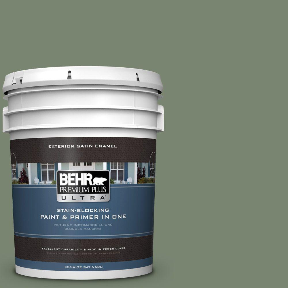 BEHR Premium Plus Ultra 5-gal. #440F-5 Winter Hedge Satin Enamel Exterior Paint