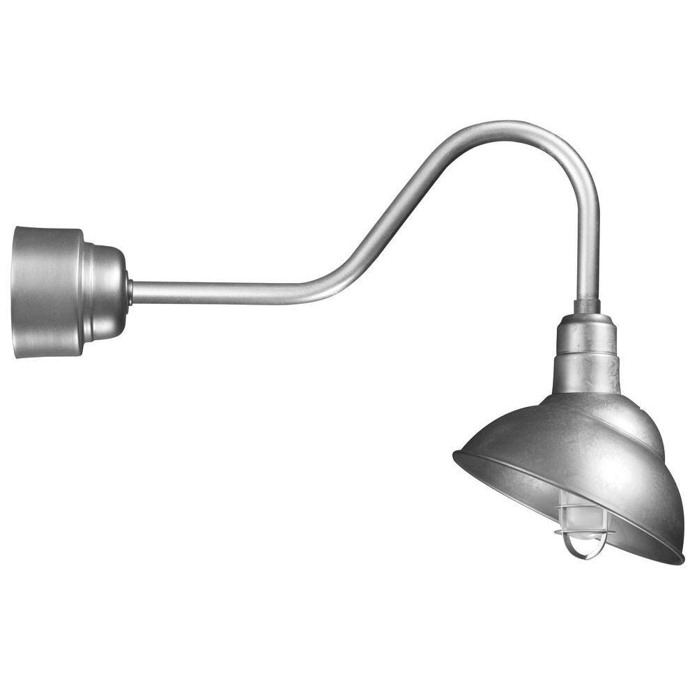 illumine 1 light outdoor galvanized wall lantern with wire. Black Bedroom Furniture Sets. Home Design Ideas