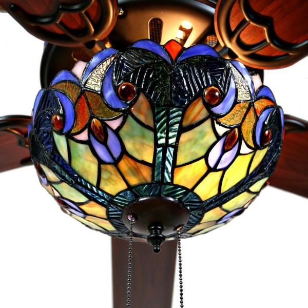 River Of Goods Halston 52 In Blue Tiffany Stained Glass Led Ceiling Fan With Light 20064 The Home Depot