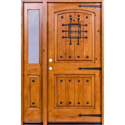 53 in. x 97.625 in. Mediterranean Knotty Alder Arch Unfinished Left-Hand Inswing Prehung Front Door w/Left Half Sidelite