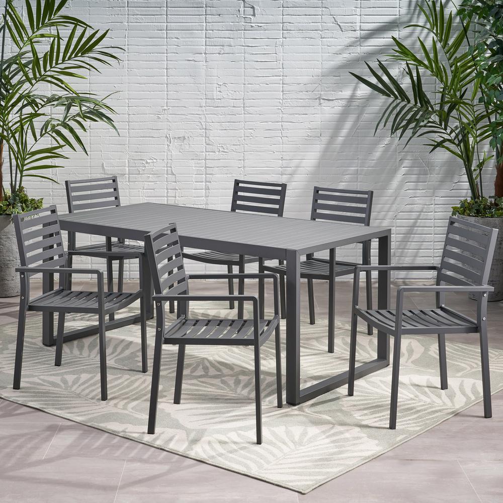 Paz 30 in. Grey 7-Piece Aluminum Rectangular Outdoor Dining Set