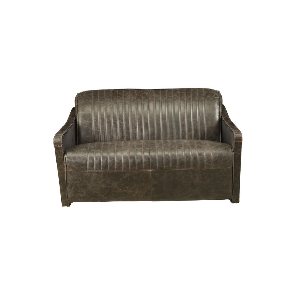 Acme Furniture Winchester Aluminum And Distressed Espresso Top Grain Leather Loveseat