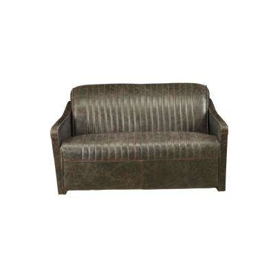Winchester Aluminum and Distressed Espresso Top Grain Leather Loveseat