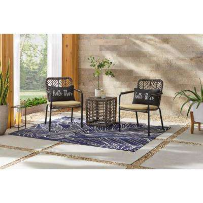 Creston Brown 3-Piece Wicker Square Outdoor Patio Bistro Set with Tan Cushions