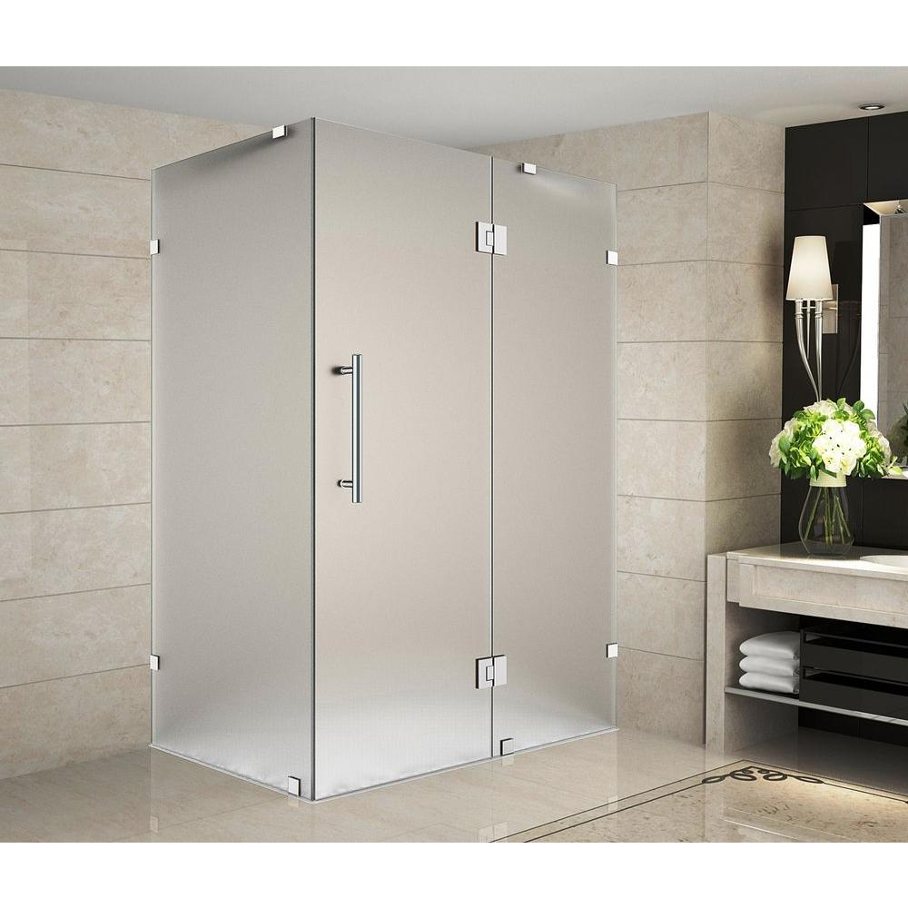 Aston Avalux 40 in. x 34 in. x 72 in. Completely Frameless Shower Enclosure with Frosted Glass in Chrome