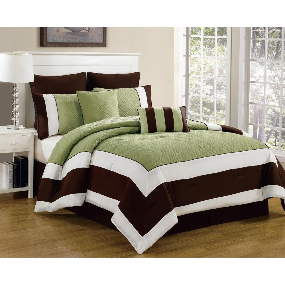 Spain 8-Piece Sage-Chocolate Queen Comforter Set