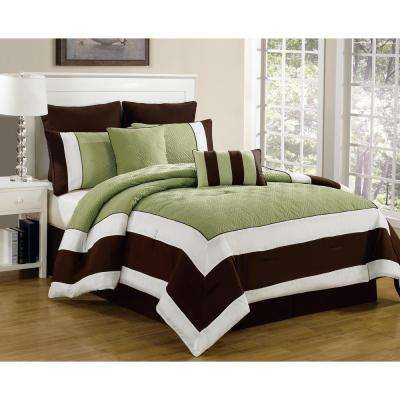Spain Sage-Chocolate 8-Piece King Comforter Set