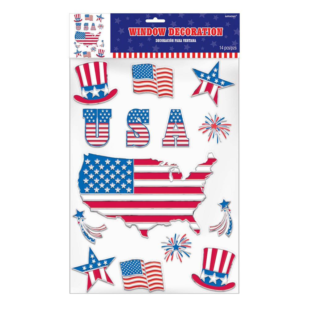 Patriotic Embossed Window Decorations (3-Pack)