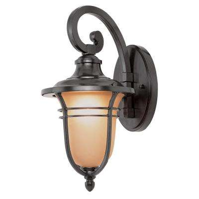 1-Light Rubbed Oil Bronze Outdoor Wall Lantern with Amber Frost Glass