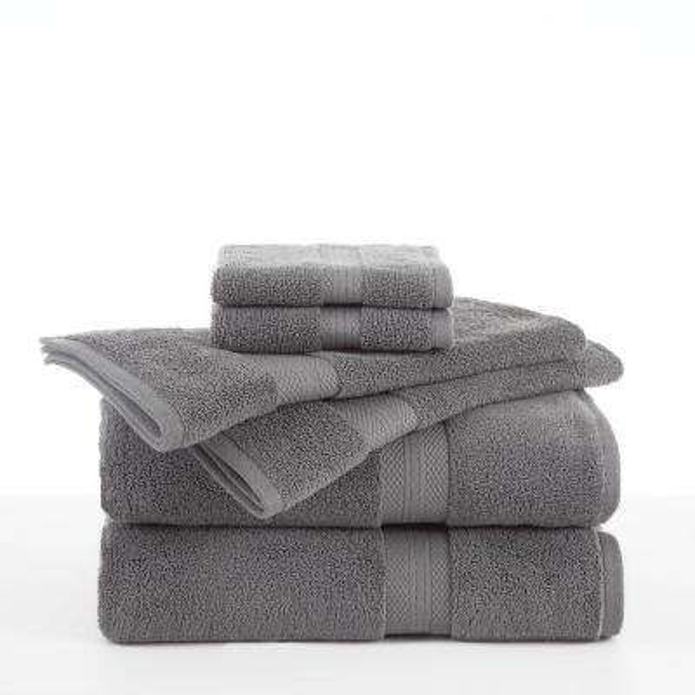Abundance 6-Piece Cotton Blend Towel Set in Boulder Grey