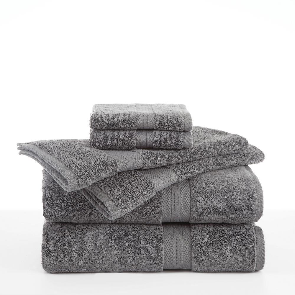 Martex Abundance 6-Piece Cotton Blend Towel Set in Boulder Grey 079465026955