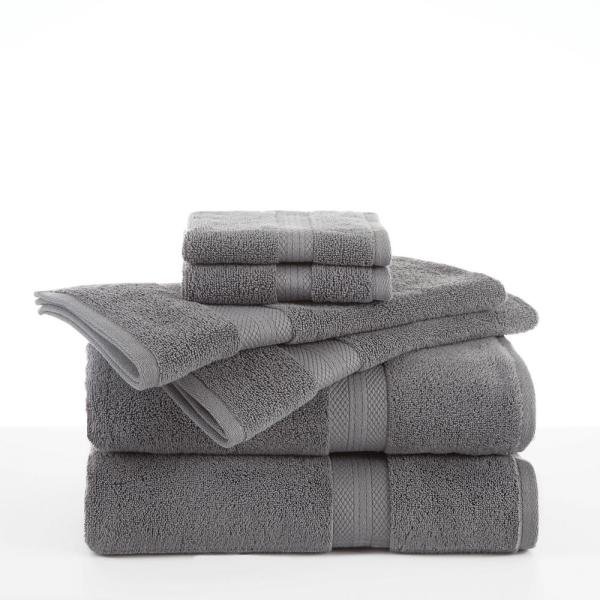 Abundance 6-Piece Boulder Grey Solid Bath Towel Set