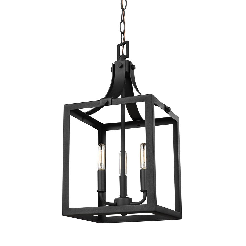 Sea Gull Lighting Labette 3 Light Black Hall Foyer Pendant