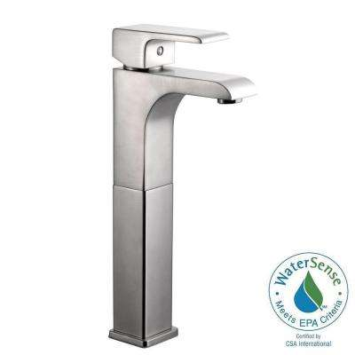 Lyss Single Hole 1-Handle Vessel Bathroom Faucet in Satin Nickel