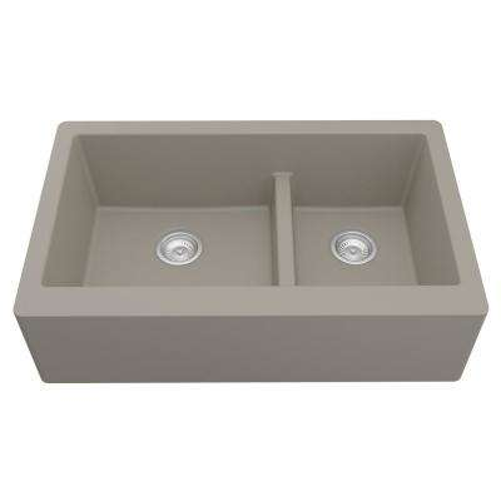 Farmhouse Apron Front Quartz Composite 34 in. Double Offset Bowl Kitchen Sink in Concrete