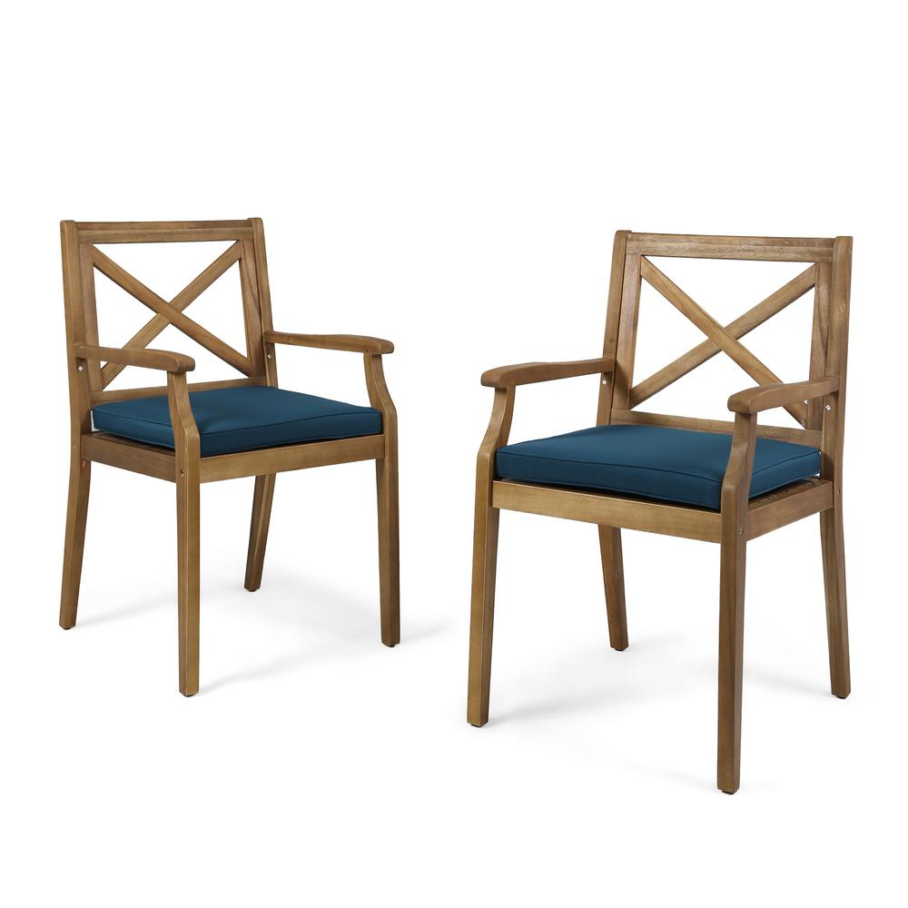 Le House Perla Teak Brown Cross Back Wood Outdoor Dining Chairs With Blue Cushions 2 Pack