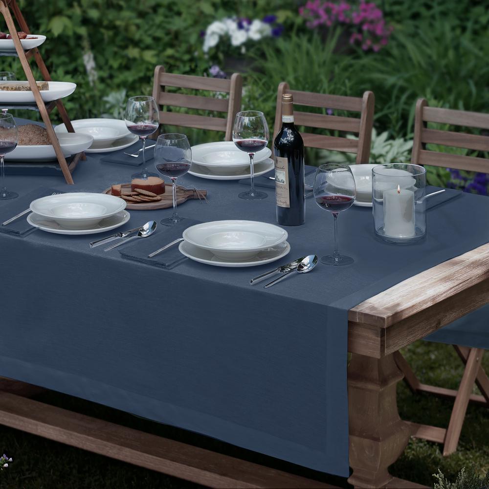 La Classica 70 in. W x 96 in. L Fabric Tablecloth in Indigo