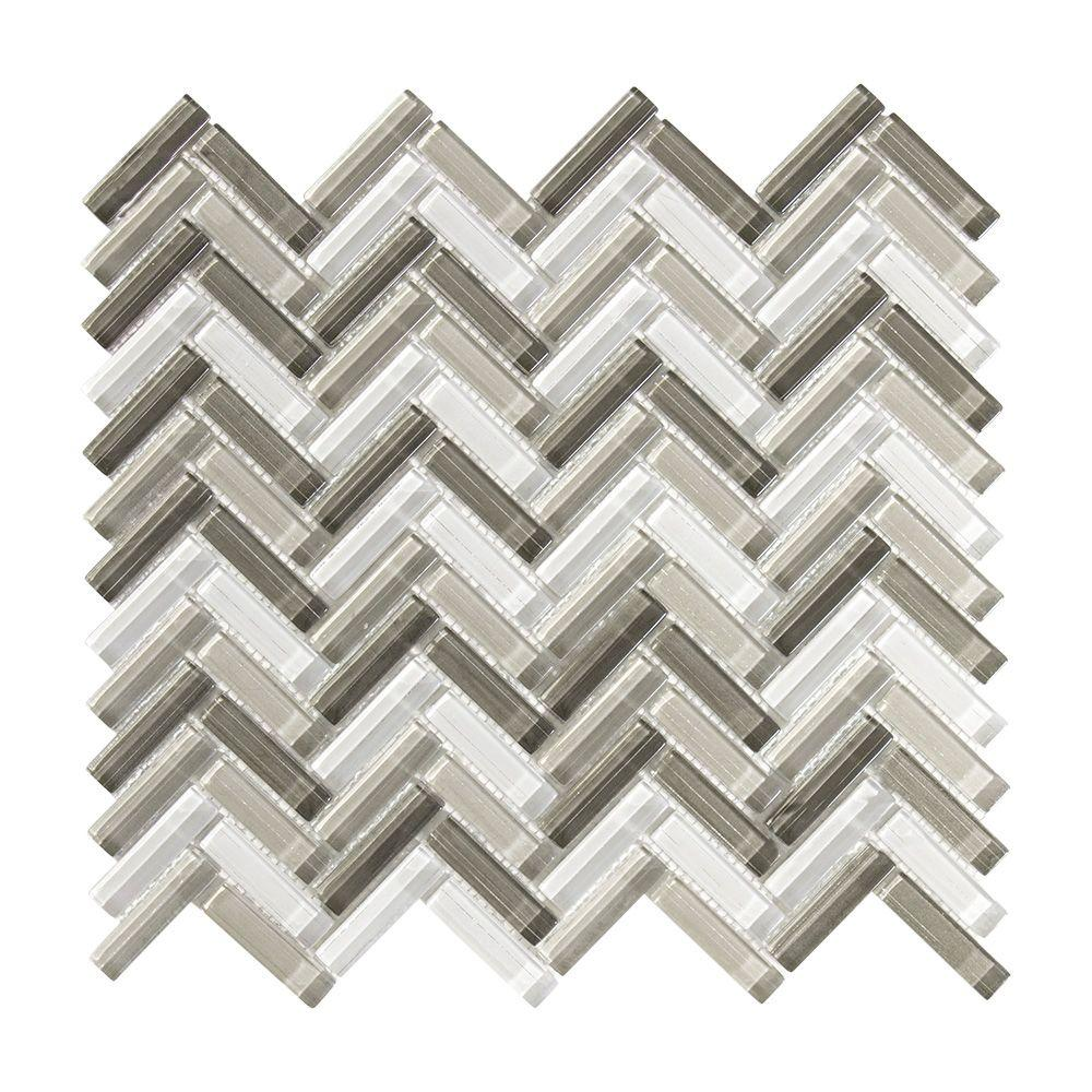 Jeffrey Court Pleasantville 11.25 in. x 11.375 in. x 8 mm Glass ...