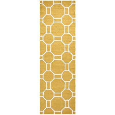 Azzura Hill Gold Geometric 3 ft. x 8 ft. Outdoor Runner Rug